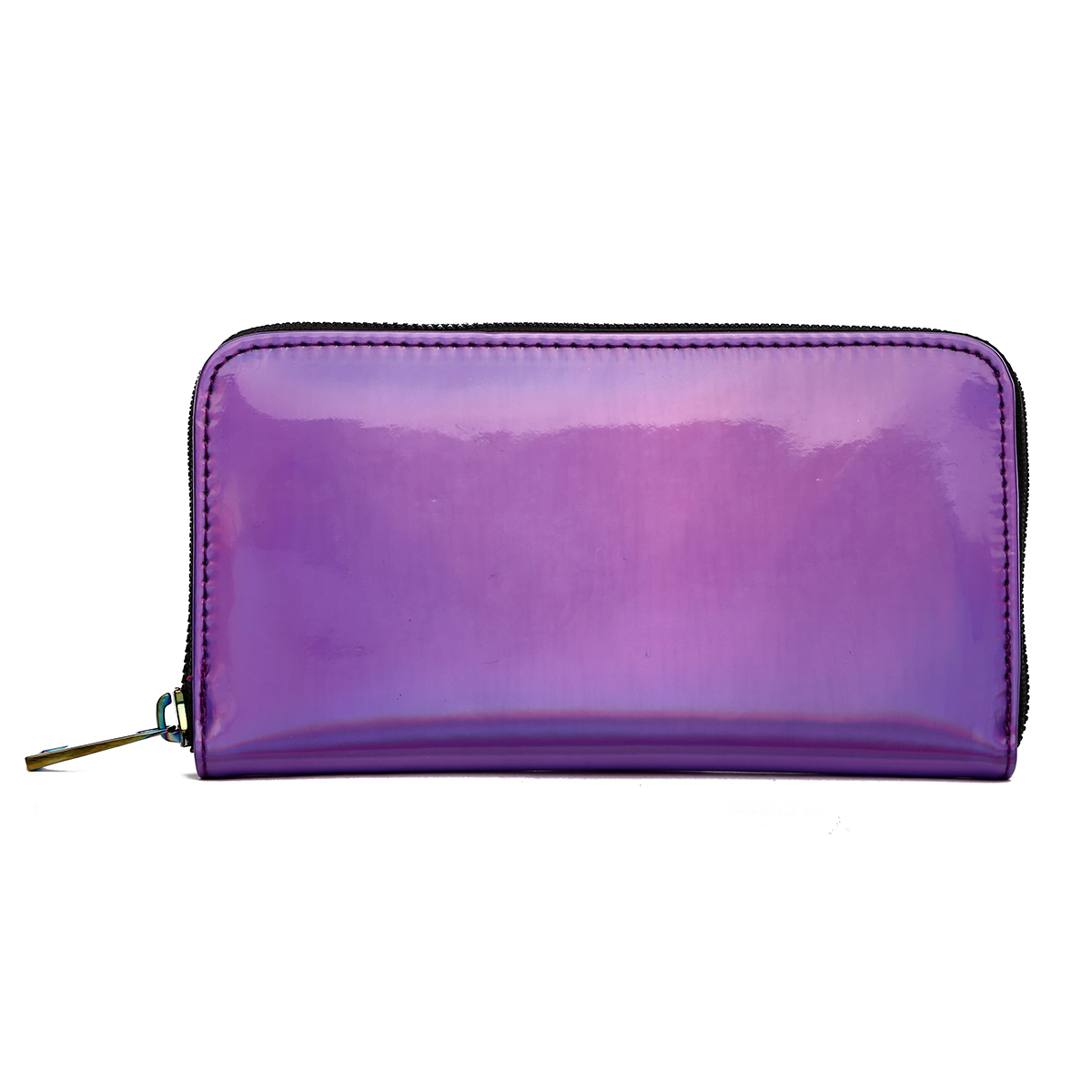 Hologram Zip Around Wallet with Rainbow Zipper Purple